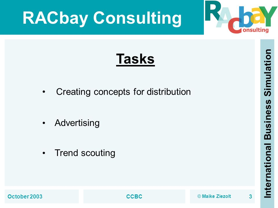 RACbay Consulting International Business Simulation October 2003CCBC3 Tasks Creating concepts for distribution Advertising Trend scouting © Maike Ziez