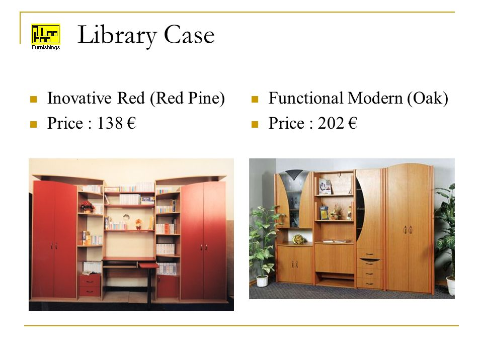 Library Case Inovative Red (Red Pine) Price : 138 Functional Modern (Oak) Price : 202