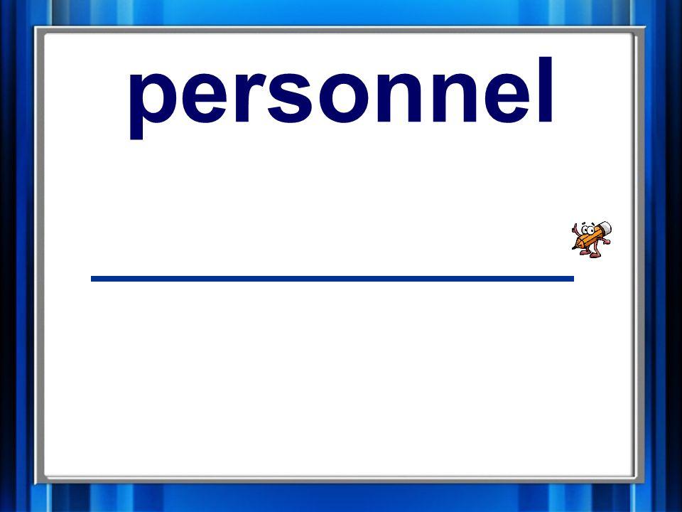 9. personnel personnel
