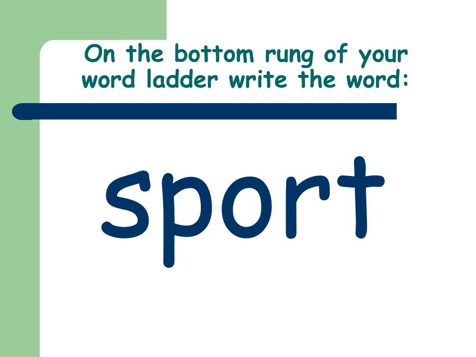 On the bottom rung of your word ladder write the word: sport