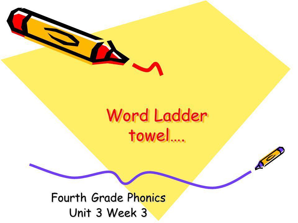 Word Ladder towel…. Fourth Grade Phonics Unit 3 Week 3