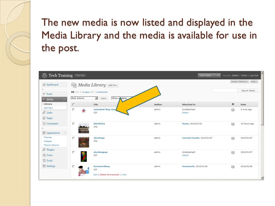 The new media is now listed and displayed in the Media Library and the media is available for use in the post.