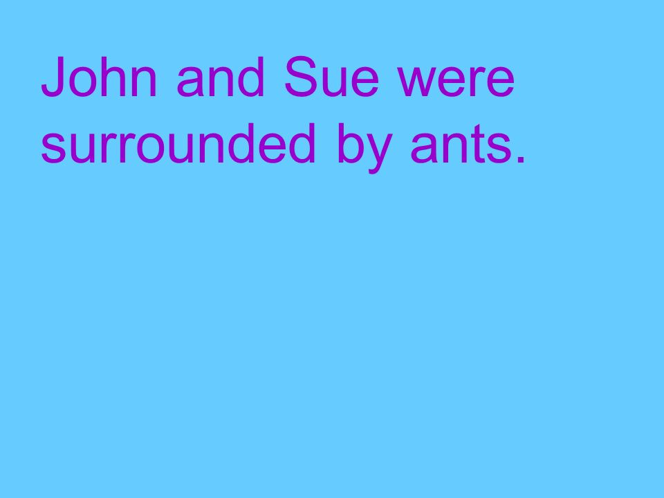 John and Sue were surrounded by ants.