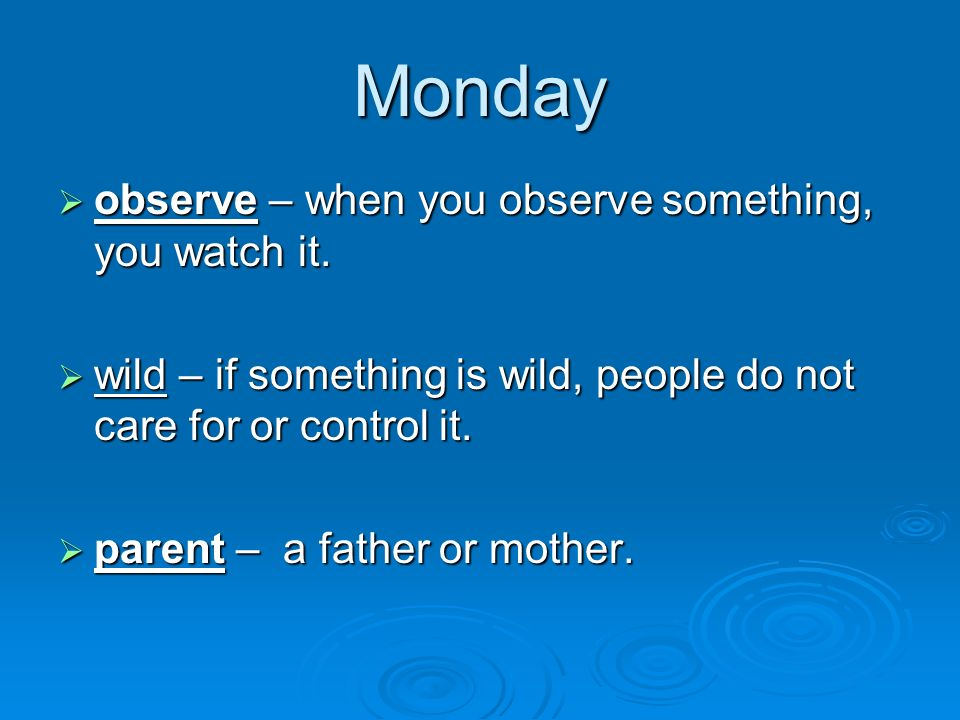 Monday observe – when you observe something, you watch it. observe – when you observe something, you watch it. wild – if something is wild, people do