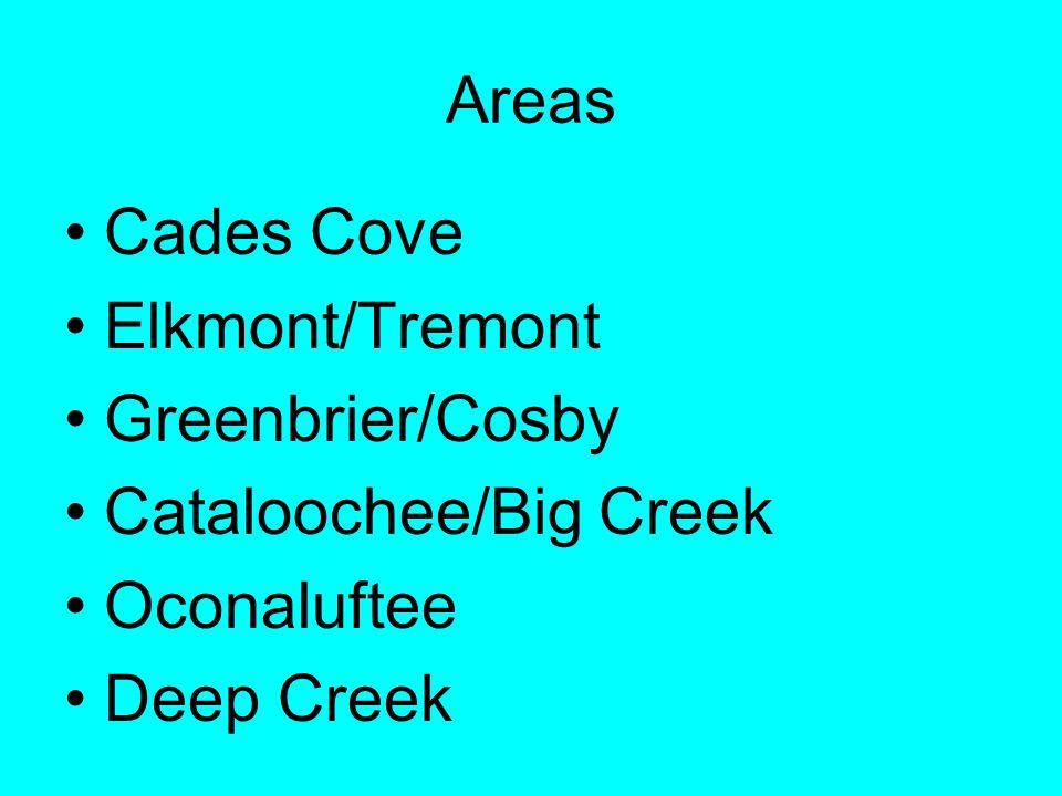 Areas Cades Cove Elkmont/Tremont Greenbrier/Cosby Cataloochee/Big Creek Oconaluftee Deep Creek