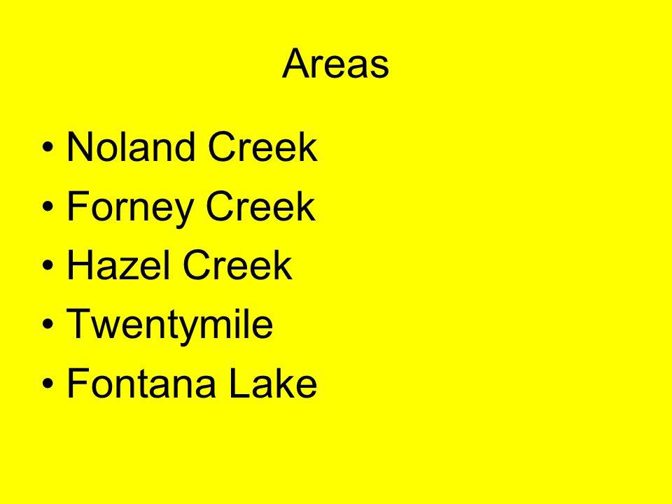 Areas Noland Creek Forney Creek Hazel Creek Twentymile Fontana Lake