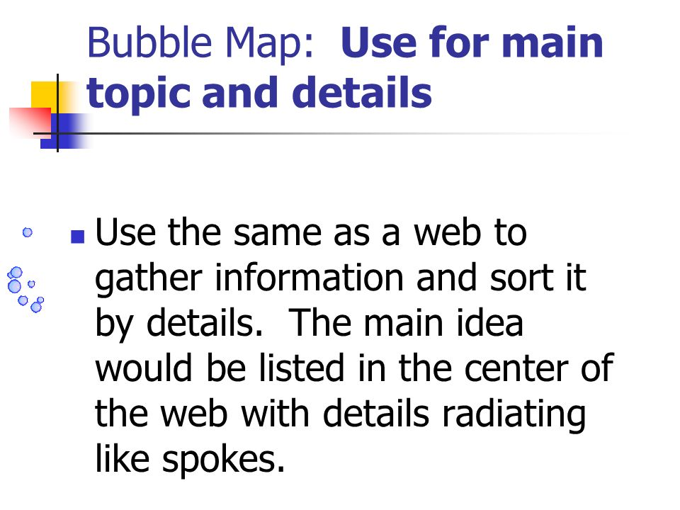 Bubble Map: Use for main topic and details Use the same as a web to gather information and sort it by details. The main idea would be listed in the ce