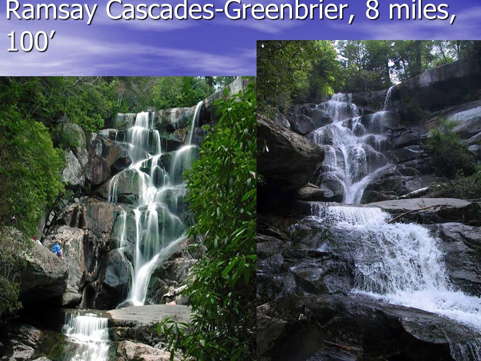 Ramsay Cascades-Greenbrier, 8 miles, 100