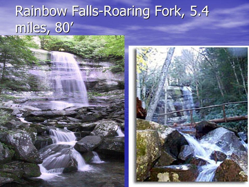 Rainbow Falls-Roaring Fork, 5.4 miles, 80 -