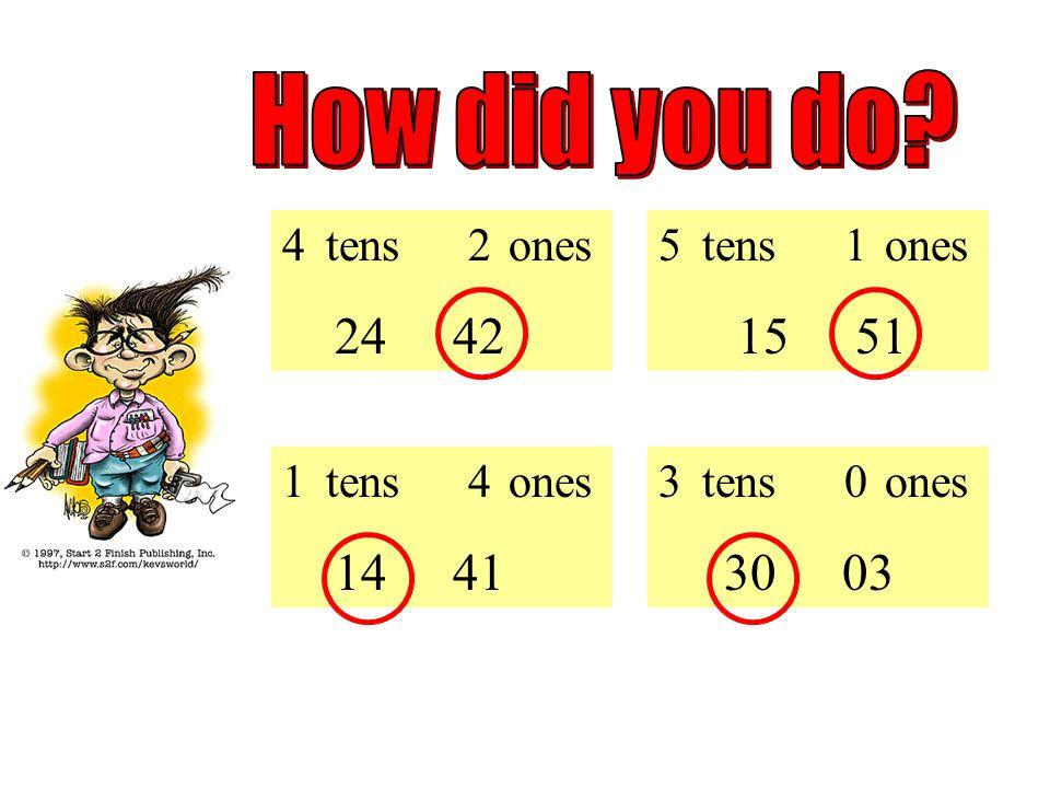 Pick the correct number: 5 tens 1 ones 15 51 1 tens 4 ones 14 41 3 tens 0 ones 30 03 4 tens 2 ones 24 42
