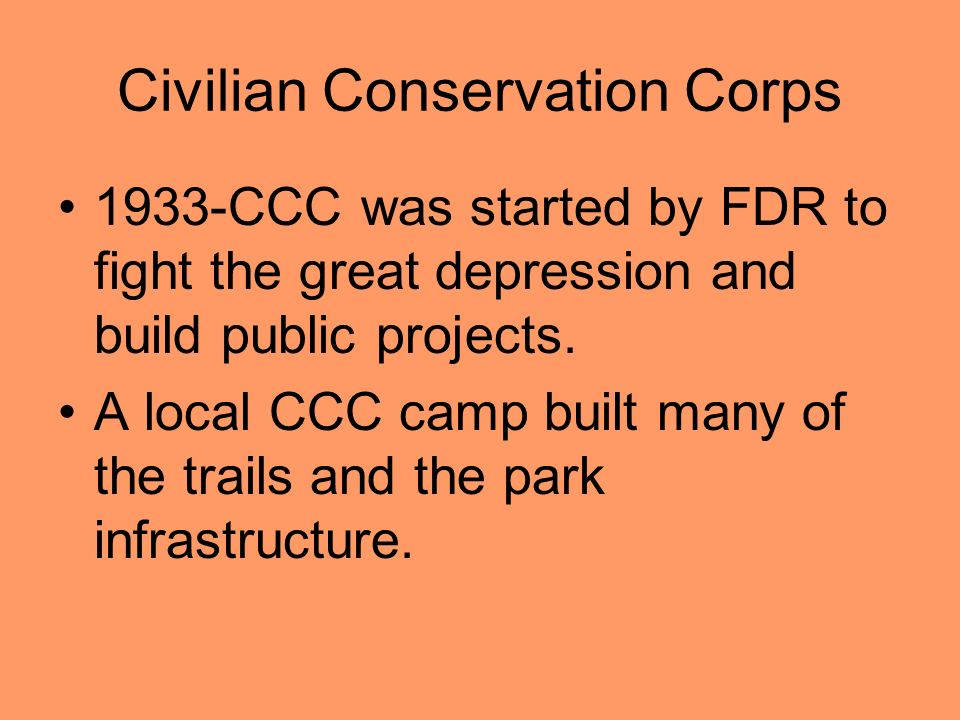 Civilian Conservation Corps 1933-CCC was started by FDR to fight the great depression and build public projects.