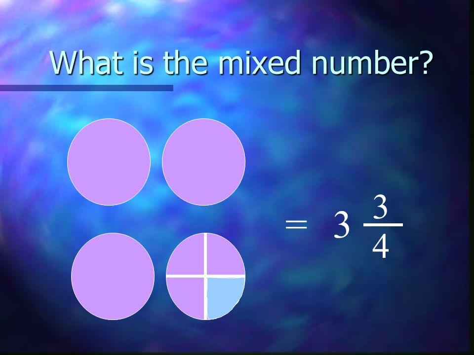What is the mixed number? =3 3 4