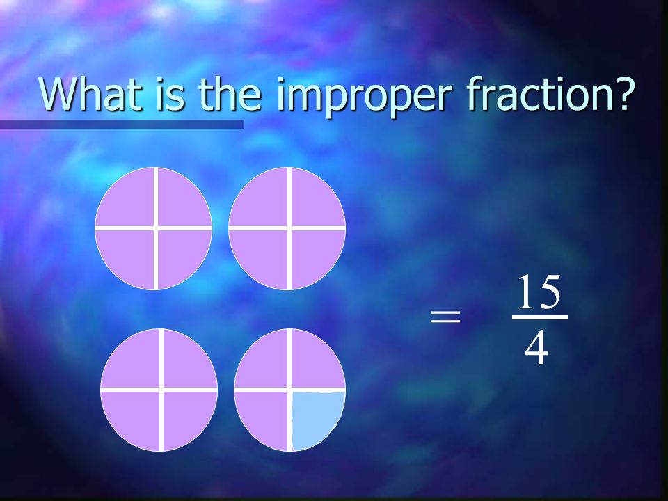 What is the improper fraction? = 15 4