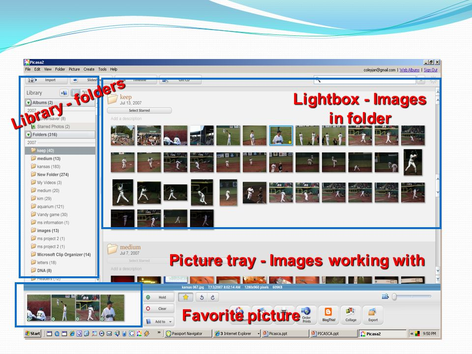Library - folders Lightbox - Images in folder Picture tray - Images working with Favorite picture