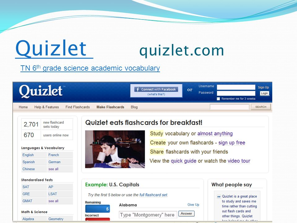 Quizlet Quizlet quizlet.com TN 6 th grade science academic vocabulary
