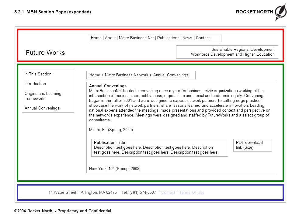 ROCKET NORTH ©2004 Rocket North - Proprietary and Confidential 8.2.1 MBN Section Page (expanded) Future Works Home | About | Metro Business Net | Publications | News | Contact 11 Water Street Arlington, MA 02476 Tel: (781) 574-6607 Contact Terms Of UseContactTerms Of Use Home > Metro Business Network > Annual Convenings Sustainable Regional Development Workforce Development and Higher Education In This Section: Introduction Origins and Learning Framework Annual Convenings MetroBusinessNet hosted a convening once a year for business-civic organizations working at the intersection of business competitiveness, regionalism and social and economic equity.