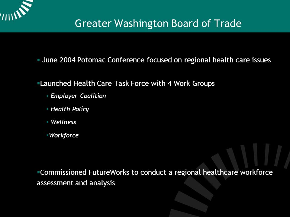 Greater Washington Board of Trade June 2004 Potomac Conference focused on regional health care issues Launched Health Care Task Force with 4 Work Groups Employer Coalition Health Policy Wellness Workforce Commissioned FutureWorks to conduct a regional healthcare workforce assessment and analysis