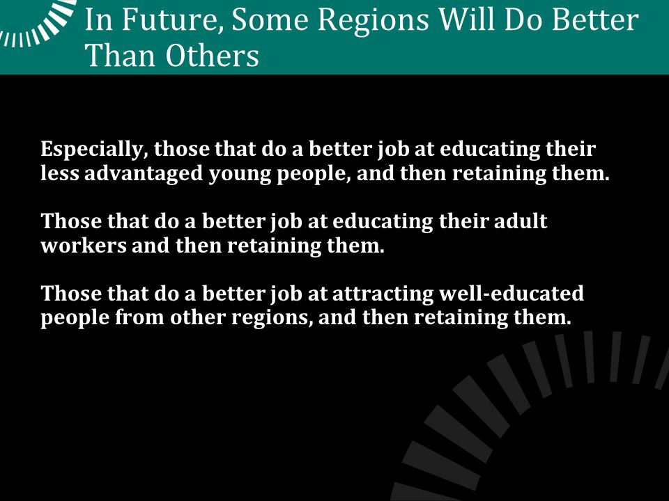 In Future, Some Regions Will Do Better Than Others Especially, those that do a better job at educating their less advantaged young people, and then retaining them.