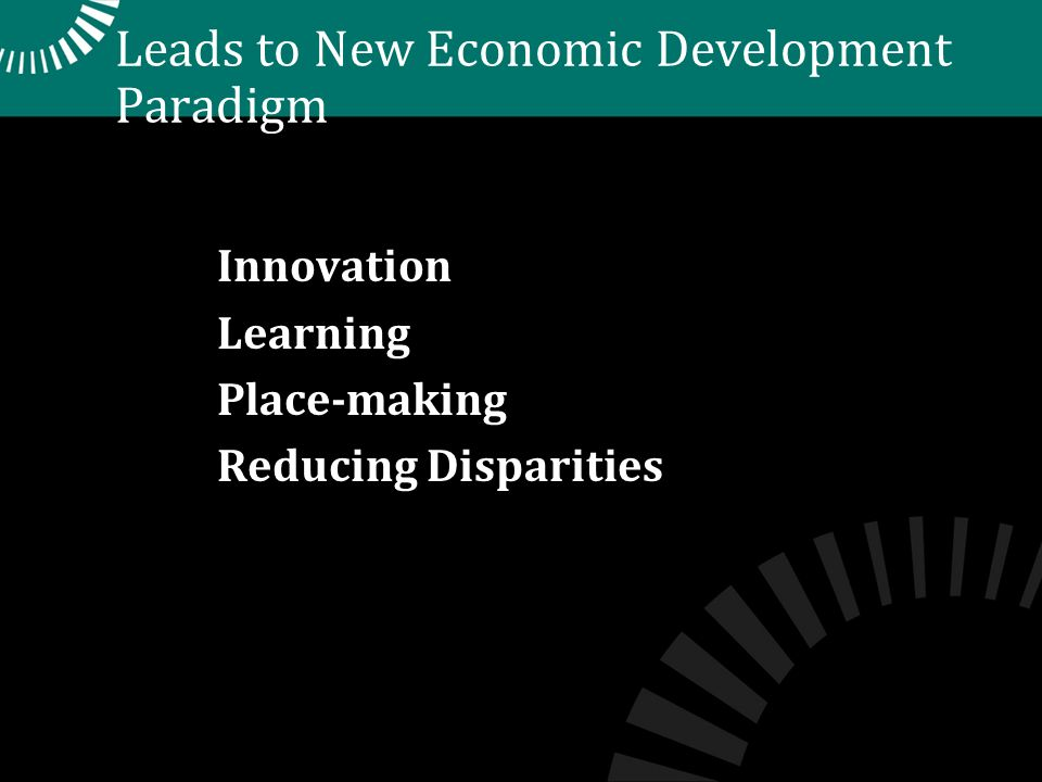Leads to New Economic Development Paradigm Innovation Learning Place-making Reducing Disparities