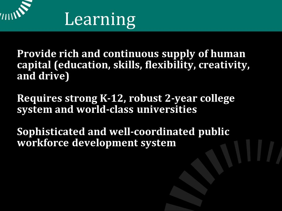 Learning Provide rich and continuous supply of human capital (education, skills, flexibility, creativity, and drive) Requires strong K-12, robust 2-year college system and world-class universities Sophisticated and well-coordinated public workforce development system