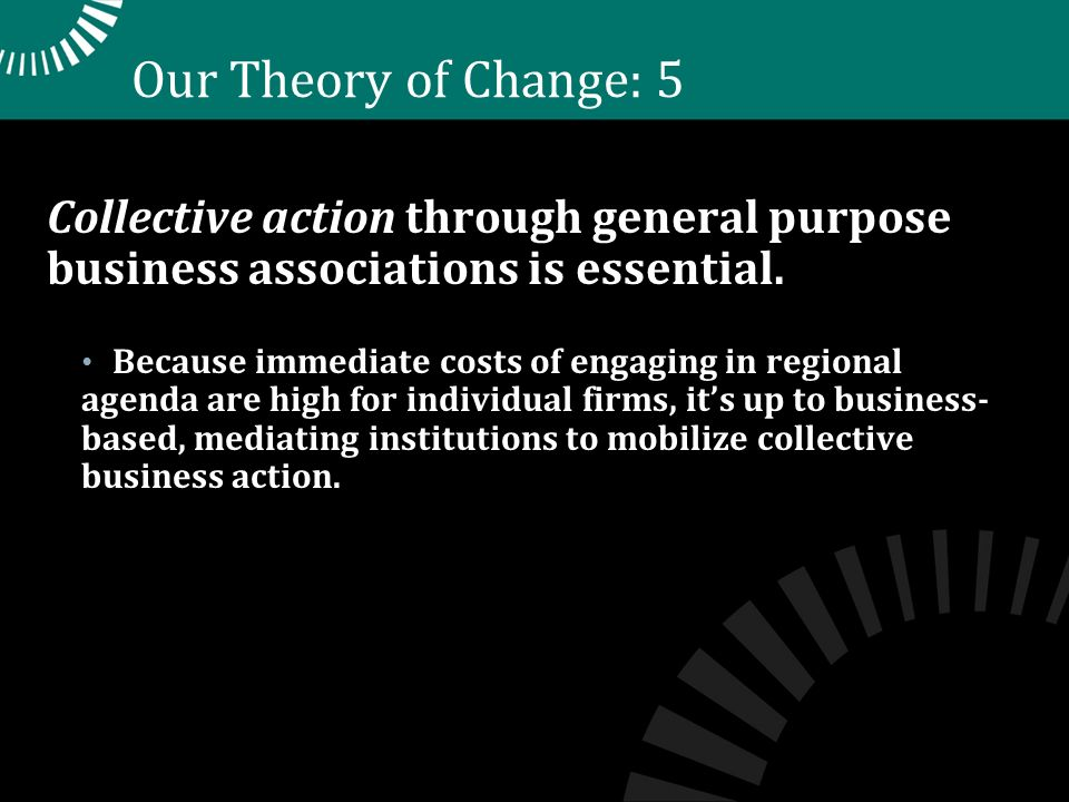 Our Theory of Change: 5 Collective action through general purpose business associations is essential.