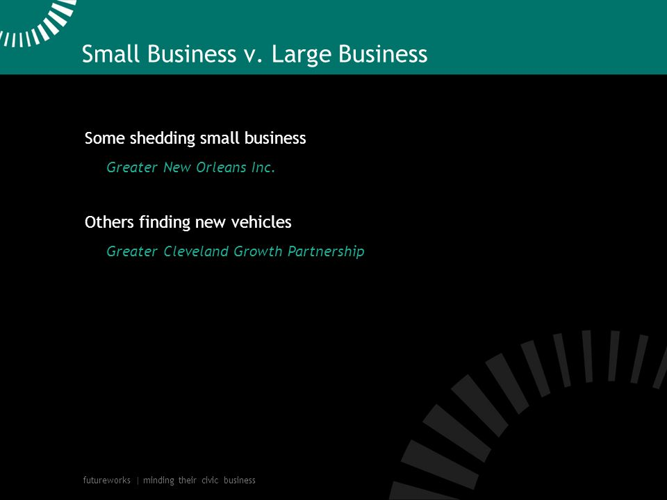 futureworks | minding their civic business Small Business v. Large Business Some shedding small business Greater New Orleans Inc. Others finding new v
