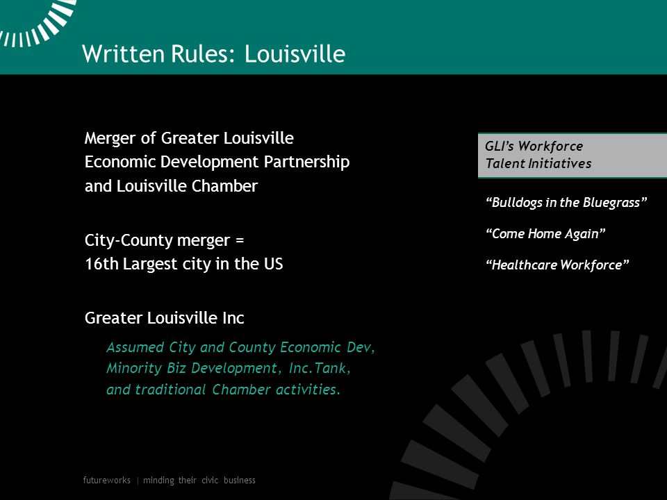 futureworks | minding their civic business Written Rules: Louisville Merger of Greater Louisville Economic Development Partnership and Louisville Chamber City-County merger = 16th Largest city in the US Greater Louisville Inc Assumed City and County Economic Dev, Minority Biz Development, Inc.Tank, and traditional Chamber activities.
