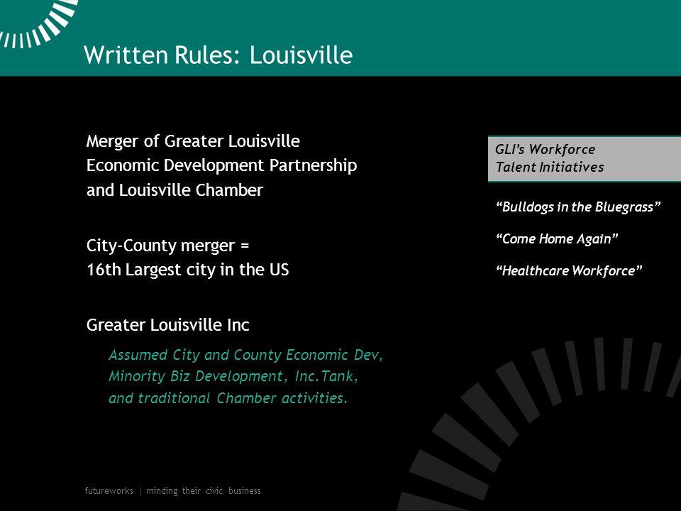 futureworks | minding their civic business Written Rules: Louisville Merger of Greater Louisville Economic Development Partnership and Louisville Cham