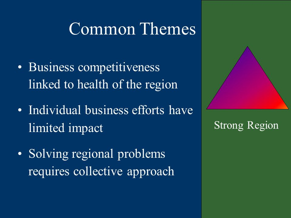 Common Themes Strong Region Business competitiveness linked to health of the region Individual business efforts have limited impact Solving regional problems requires collective approach
