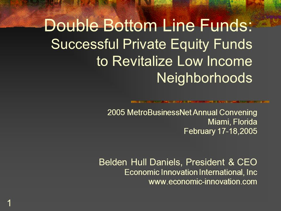 2 What are Double Bottom Line Initiatives and Funds.
