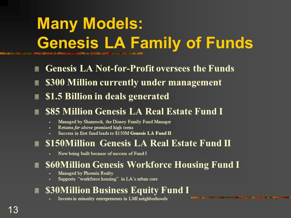 13 Many Models: Genesis LA Family of Funds 3 Genesis LA Not-for-Profit oversees the Funds 3 $300 Million currently under management 3 $1.5 Billion in