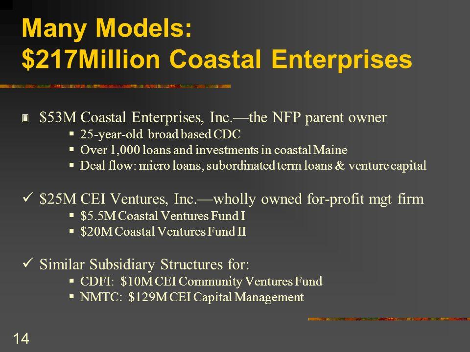 14 Many Models: $217Million Coastal Enterprises 3 $53M Coastal Enterprises, Inc.the NFP parent owner 25-year-old broad based CDC Over 1,000 loans and