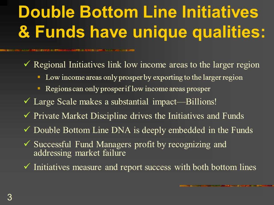 3 Double Bottom Line Initiatives & Funds have unique qualities: Regional Initiatives link low income areas to the larger region Low income areas only