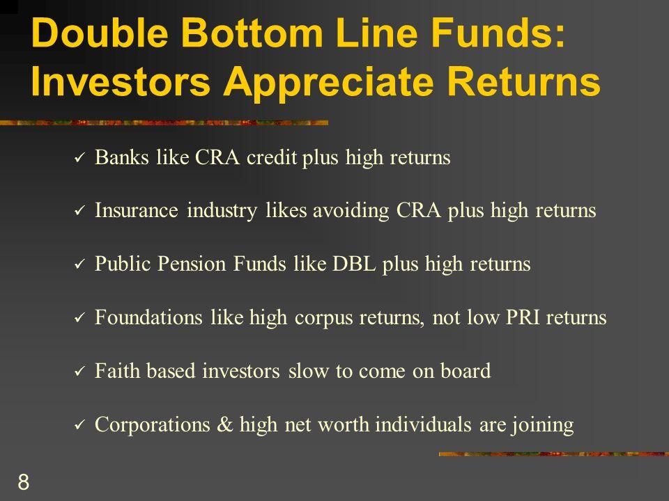 8 Double Bottom Line Funds: Investors Appreciate Returns Banks like CRA credit plus high returns Insurance industry likes avoiding CRA plus high retur