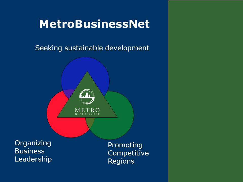 Organizing Business Leadership Promoting Competitive Regions Seeking sustainable development MetroBusinessNet