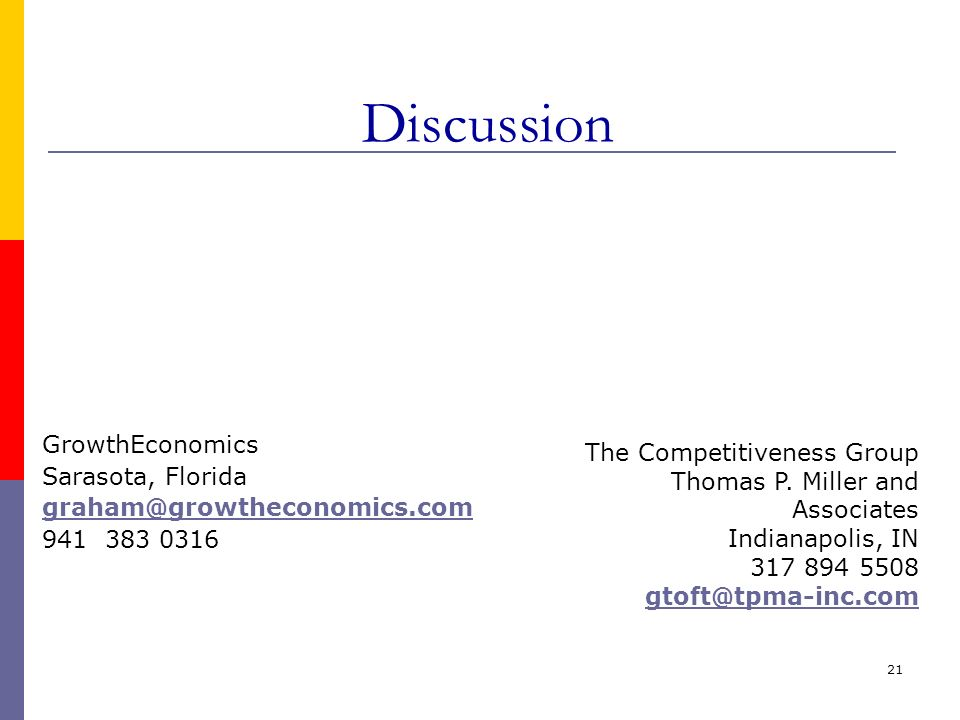 21 Discussion GrowthEconomics Sarasota, Florida graham@growtheconomics.com 941 383 0316 The Competitiveness Group Thomas P. Miller and Associates Indi