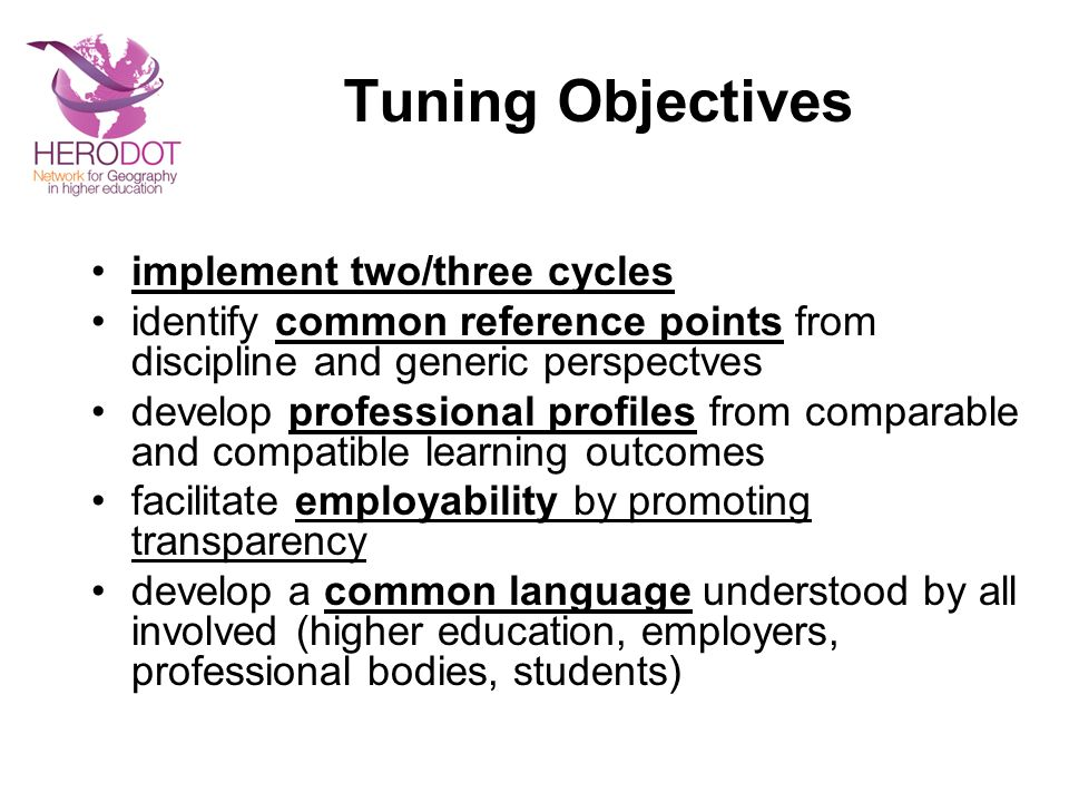 Tuning Objectives implement two/three cycles identify common reference points from discipline and generic perspectves develop professional profiles from comparable and compatible learning outcomes facilitate employability by promoting transparency develop a common language understood by all involved (higher education, employers, professional bodies, students)