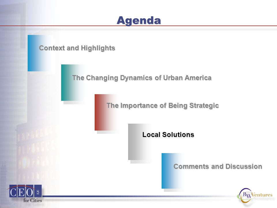 Agenda Context and Highlights The Changing Dynamics of Urban America Local Solutions Comments and Discussion The Importance of Being Strategic