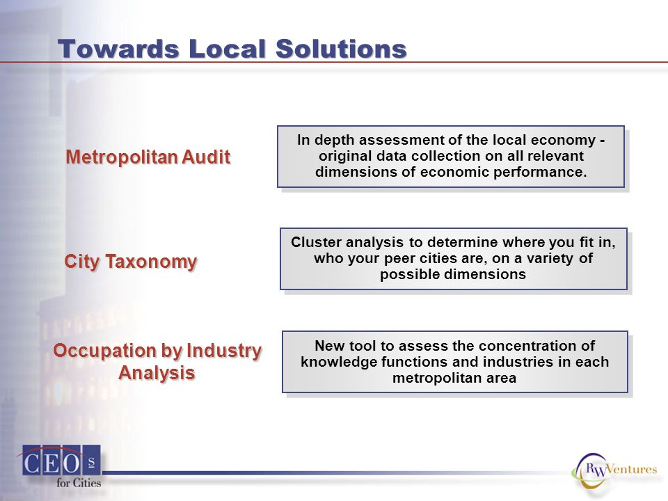 Towards Local Solutions In depth assessment of the local economy - original data collection on all relevant dimensions of economic performance.
