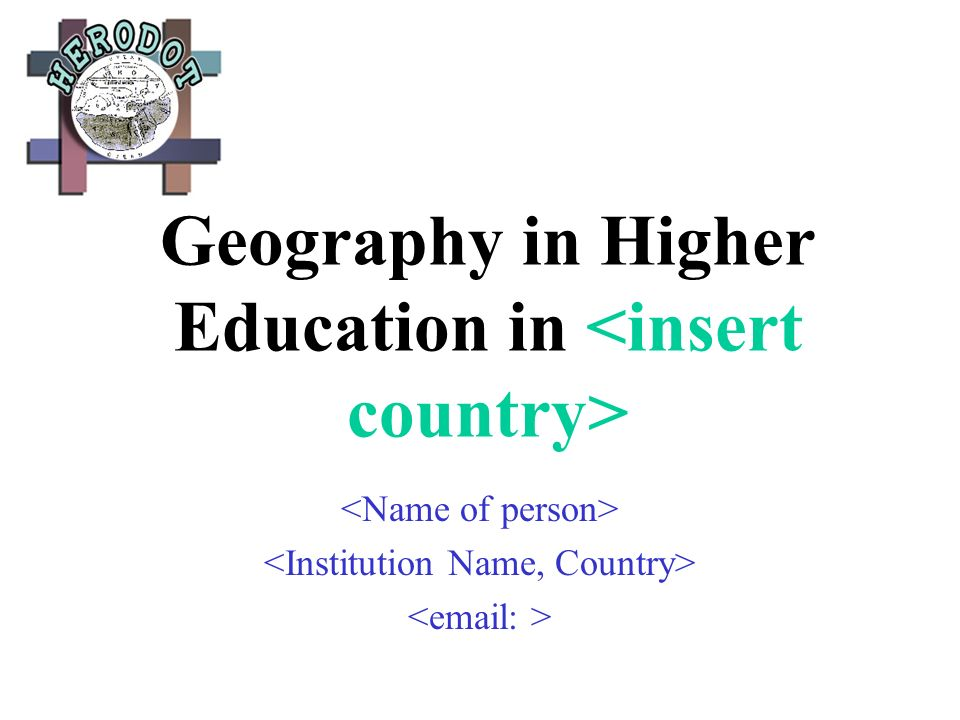 Geography in Higher Education in