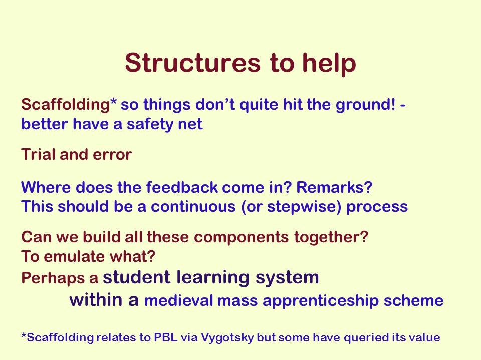 Structures to help Scaffolding* so things dont quite hit the ground.