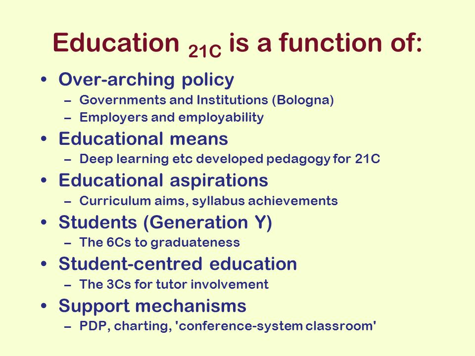 Education 21C is a function of: Over-arching policy –Governments and Institutions (Bologna) –Employers and employability Educational means –Deep learning etc developed pedagogy for 21C Educational aspirations –Curriculum aims, syllabus achievements Students (Generation Y) –The 6Cs to graduateness Student-centred education –The 3Cs for tutor involvement Support mechanisms –PDP, charting, conference-system classroom