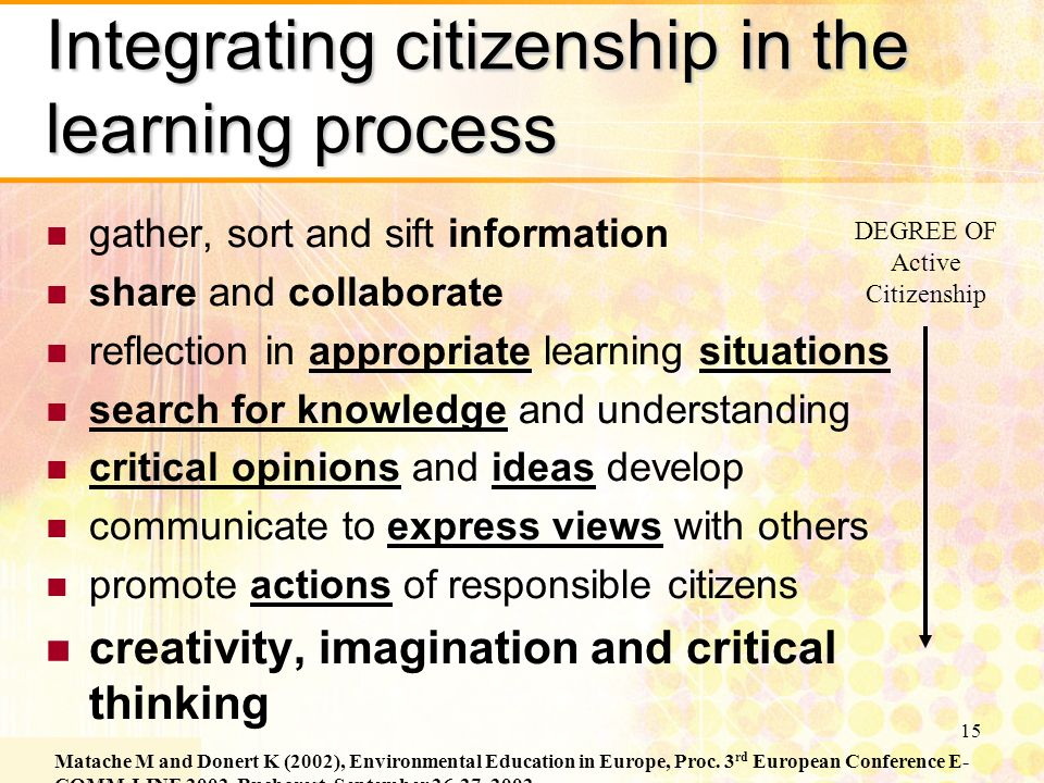 15 Integrating citizenship in the learning process gather, sort and sift information share and collaborate reflection in appropriate learning situations search for knowledge and understanding critical opinions and ideas develop communicate to express views with others promote actions of responsible citizens creativity, imagination and critical thinking Matache M and Donert K (2002), Environmental Education in Europe, Proc.