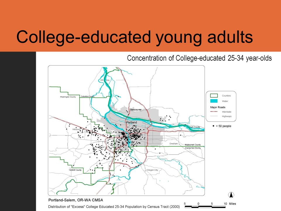 College-educated young adults Concentration of College-educated 25-34 year-olds