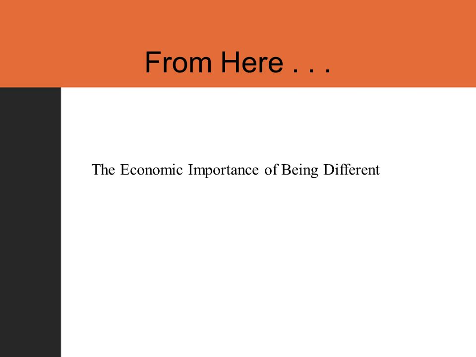 From Here... The Economic Importance of Being Different