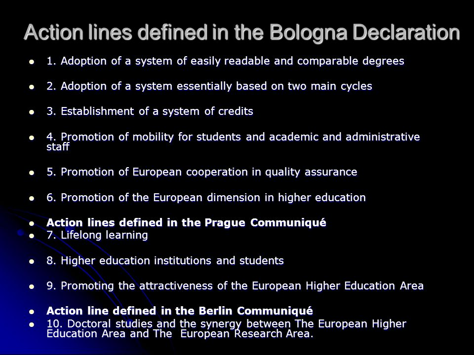 Action lines defined in the Bologna Declaration 1.