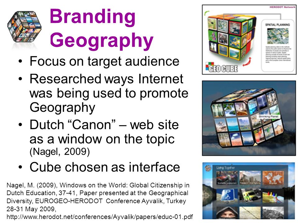 Branding Geography Focus on target audience Researched ways Internet was being used to promote Geography Dutch Canon – web site as a window on the topic (Nagel, 2009) Cube chosen as interface Nagel, M.