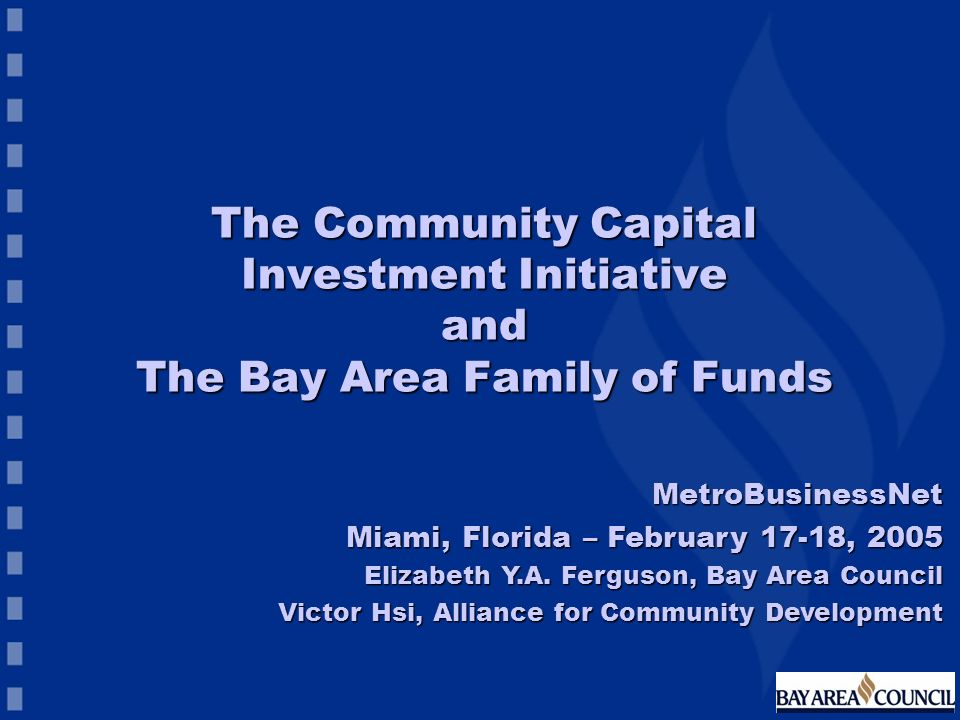 The Community Capital Investment Initiative and The Bay Area Family of Funds MetroBusinessNet Miami, Florida – February 17-18, 2005 Elizabeth Y.A. Fer