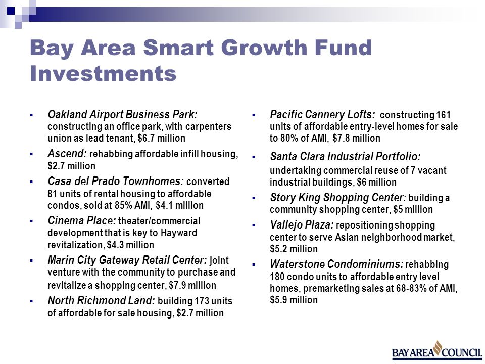 Bay Area Smart Growth Fund Investments Oakland Airport Business Park: constructing an office park, with carpenters union as lead tenant, $6.7 million