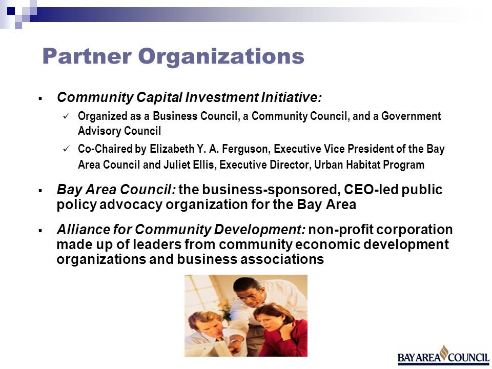 Partner Organizations Community Capital Investment Initiative: Organized as a Business Council, a Community Council, and a Government Advisory Council Co-Chaired by Elizabeth Y.